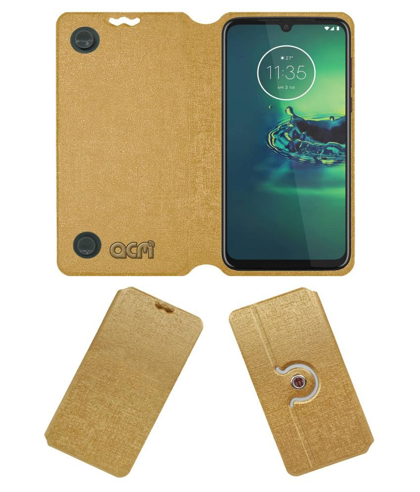 Moto G8 Plus Flip Cover by ACM - Golden Dual Side Stand