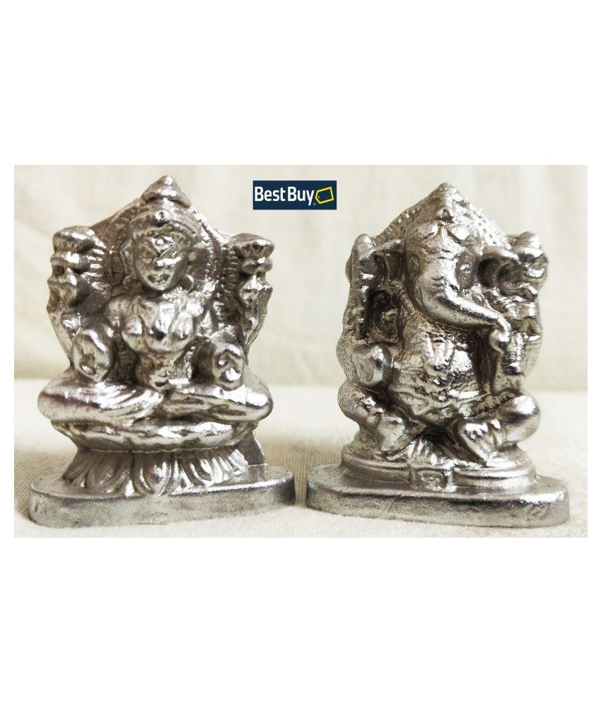 BEST Buy Parad Goddess Lakshmi Ganesh (120 Grams) Mercury Lakshmi Ganesh Idol Statue for Home Office Puja Article | Wt. 120 Grams