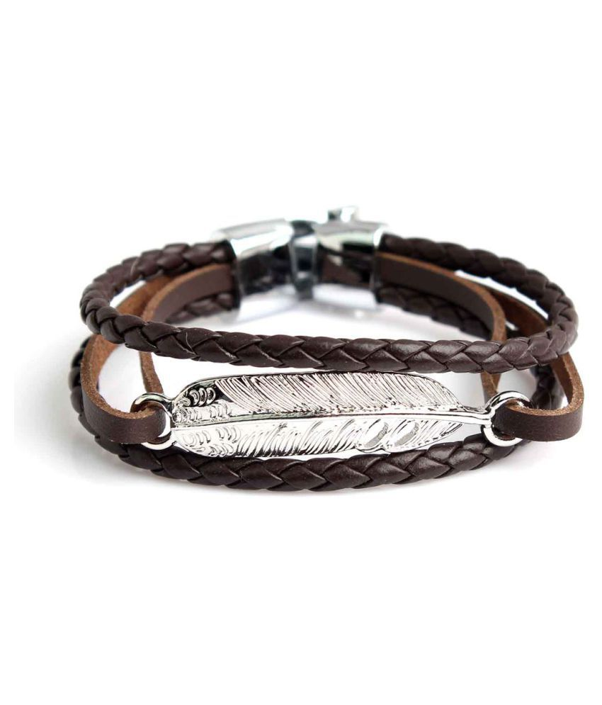 Handmade Crafted Mens Style Brown Clour Fashionable Antique Leather Bracelet With steel Lock For Mens And Boys.