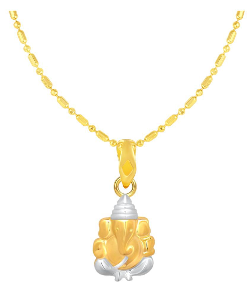VIRINA Avighna Ganesh Gold Plated Alloy & Brass Cubic Zirconia God Pendant with Chain for Women & Men [VGP1096G]
