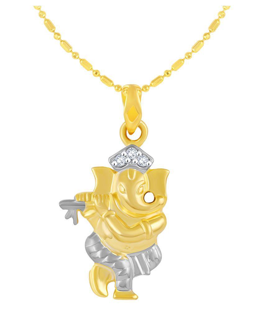 VIRINA Dancing Ganesh Gold Plated Alloy & Brass Cubic Zirconia god Pendant with Chain for Women & Men [VGP1117G]