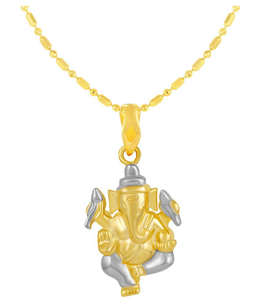 VIRINA Ganpati Gold Plated Alloy & Brass Cubic Zirconia god Pendant with Chain for Women & Men [VGP1135G]