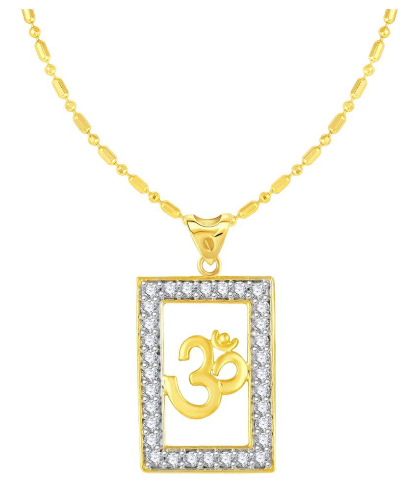 VIRINA OM Gold Plated Alloy & Brass Cubic Zirconia God Pendant for Women & Men [VGP1064G]