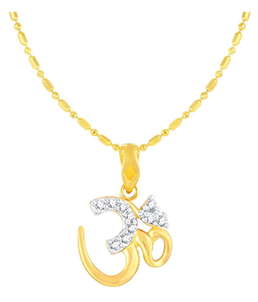 VIRINA Soliatire OM Gold Plated Alloy & Brass Cubic Zirconia God Pendant with Chain for Women & Men [VGP1086G]