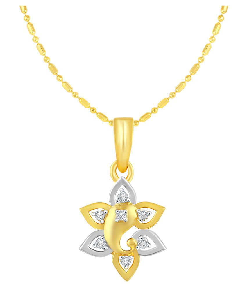 VIRINA Surya Ganesh Gold Plated Alloy & Brass Cubic Zirconia God Pendant with Chain for Women & Men [VGP1036G]