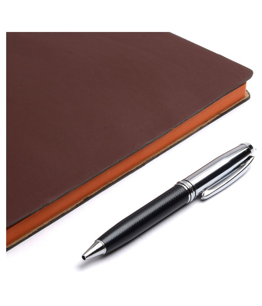 COI DIARY BROWN A5 NOTEBOOK - Unique Multipurpose Stationery, New Year Diary for Office going Men and Women with Pen.