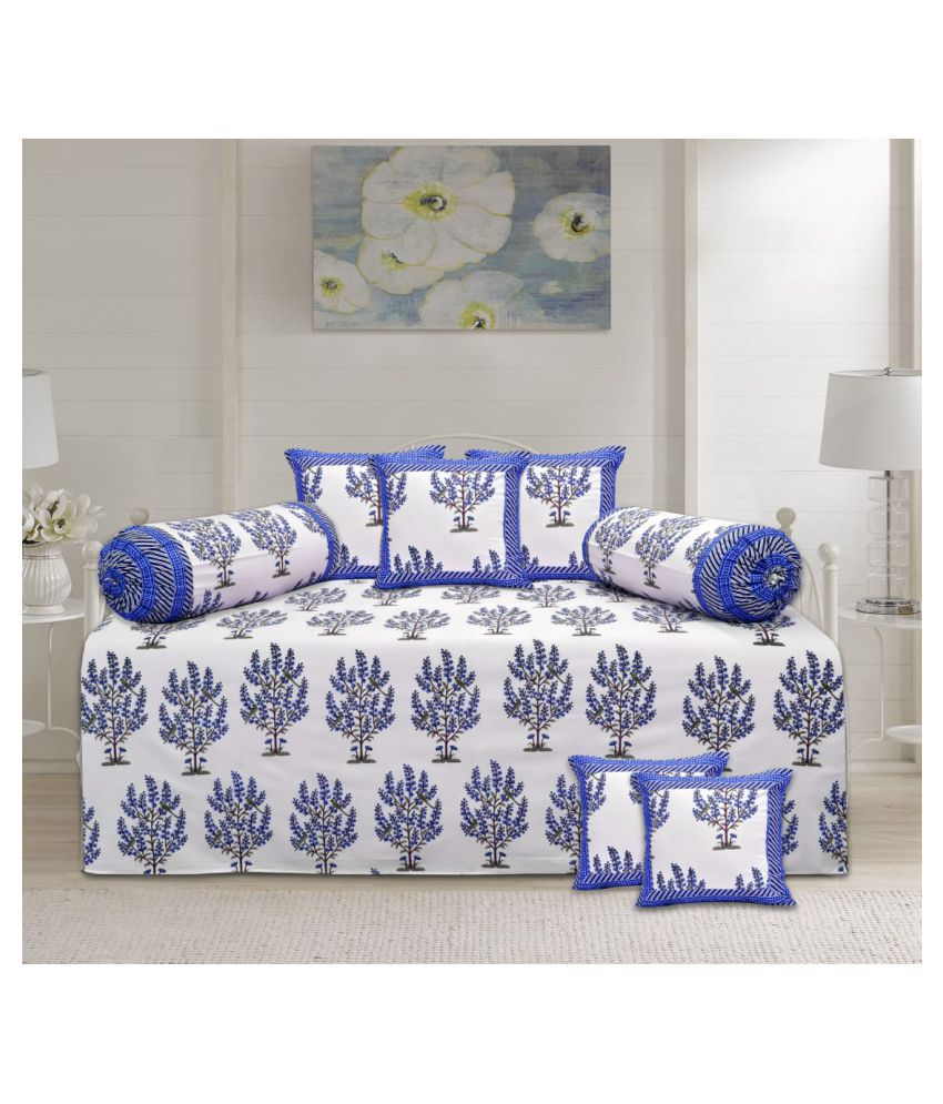 Decorum Cotton Blue Nature Diwan Set 8 Pcs