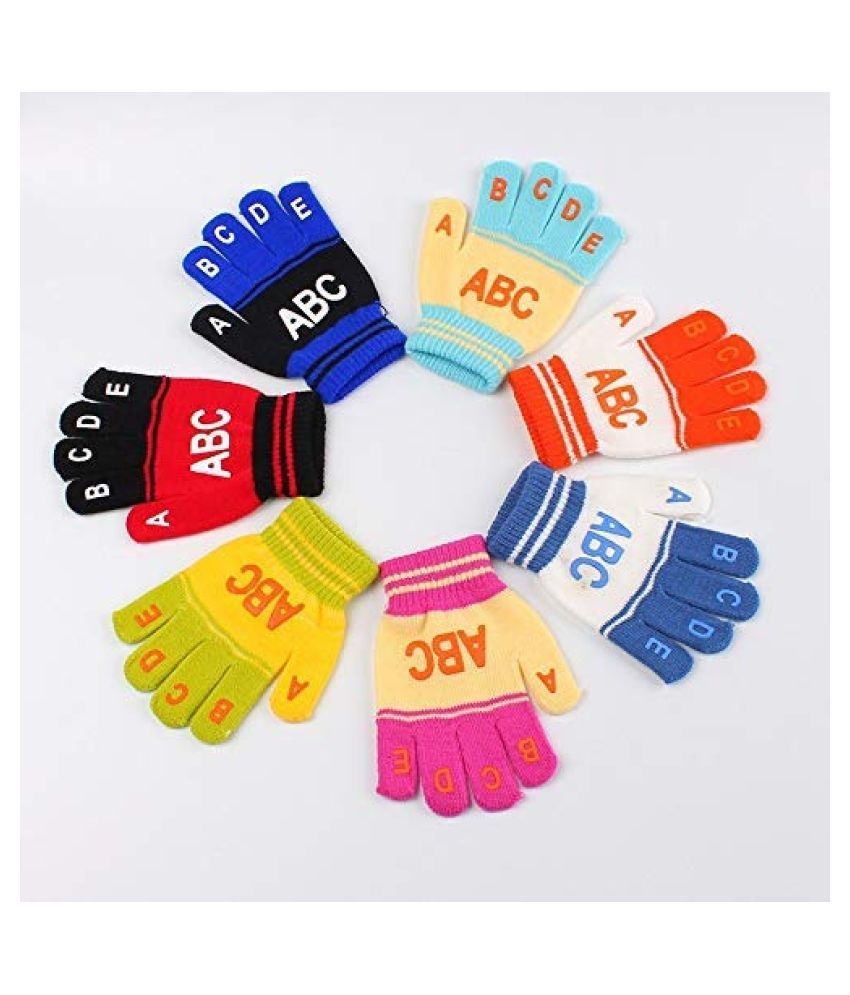 Gouravsumana Baby Boys and Baby Girl's Winter Hand Gloves ( Multicolour ; Pack Of 7 ) 6-12 Months
