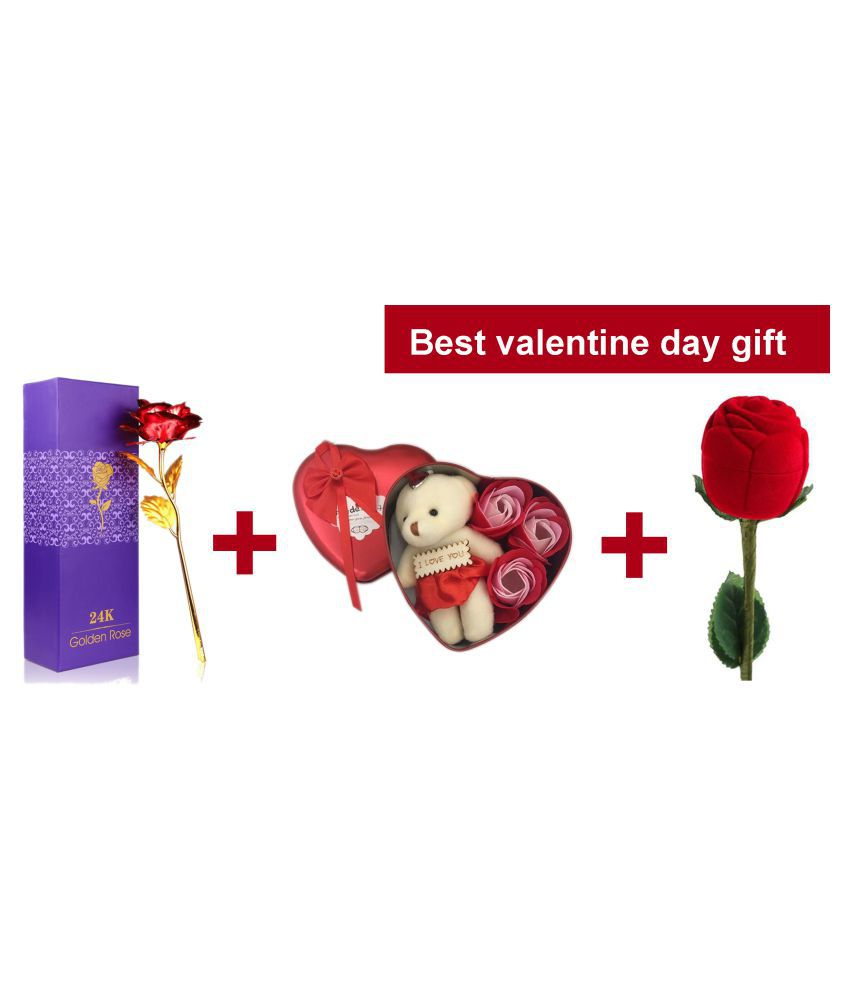 Velvet Red Rose Jewellery Ring Box,Valentine Gift Heart Shape Box with Teddy and Gold Plated  Red Rose for Girlfriend Teddy Day Rose Day with red rose ring box