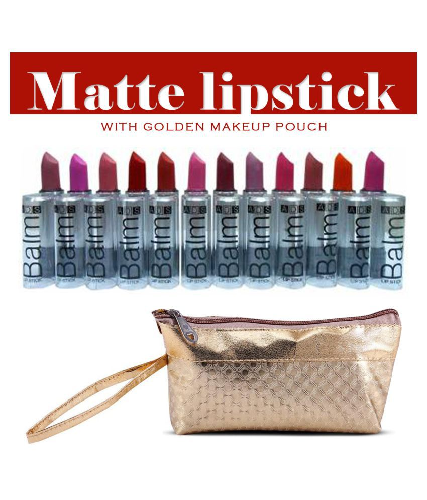 ADS Matte Pack of 12 Multicolor Lipstick & 1 Gold Makeup Pouch