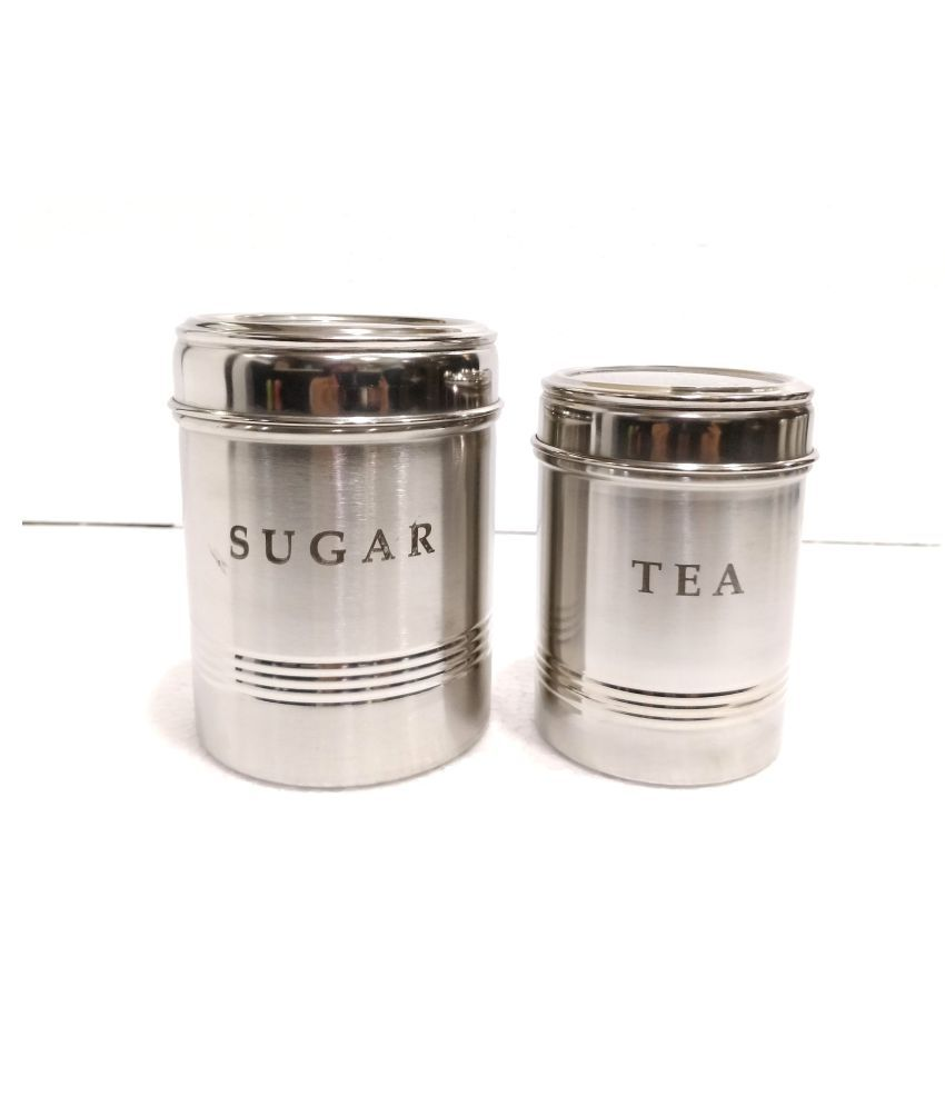 BOXY See Thru Trio Family Steel Tea/Coffee/Sugar Container Set of 2 800 mL