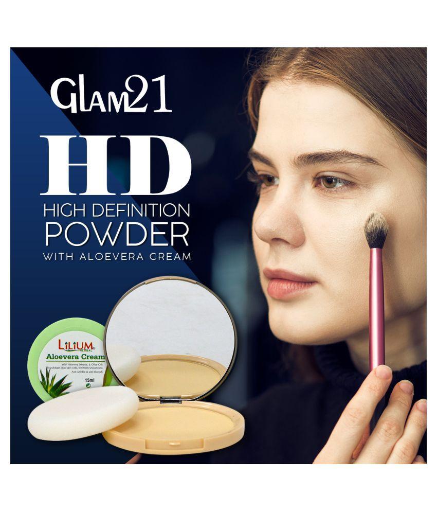 Glam21 High Defination Compact-CP7007 Pressed Powder & Aloevera Cream Medium 12 g