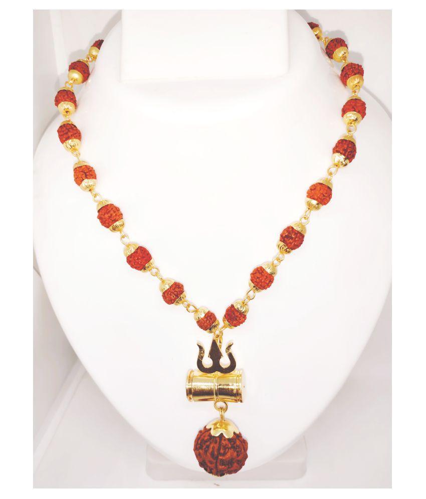 Loard Shiv Trishul Damru Locket With Puchmukhi Rudraksha Mala Gold-plated Brass, Wood