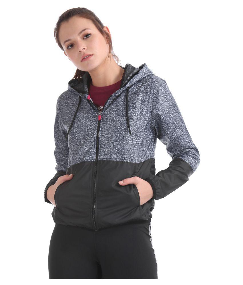 Sugr Polyester Black Hooded Sweatshirt