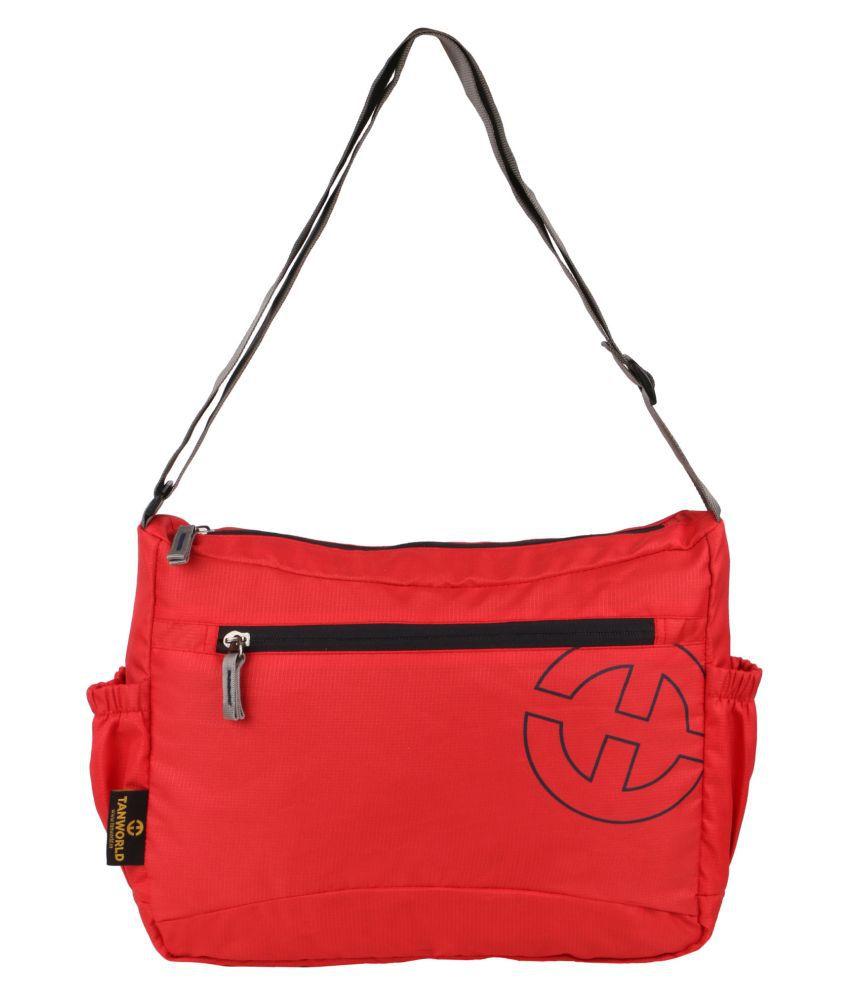 TANWORLD Red P.U. Casual Messenger Bag