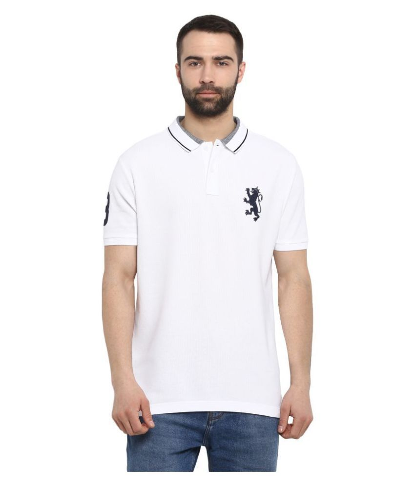 Red Tape 100 Percent Cotton White Plain Polo T Shirt