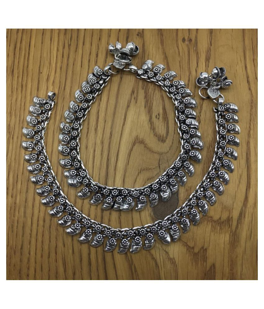 Digital Dress Traditional Authentic Attractive Indian Style Alloy Metal Fancy Oxidised German Silver Plated Anklet Payal/Pazeb Comes Pair for Women and Girls Gift Jewellery (Pack of 2)