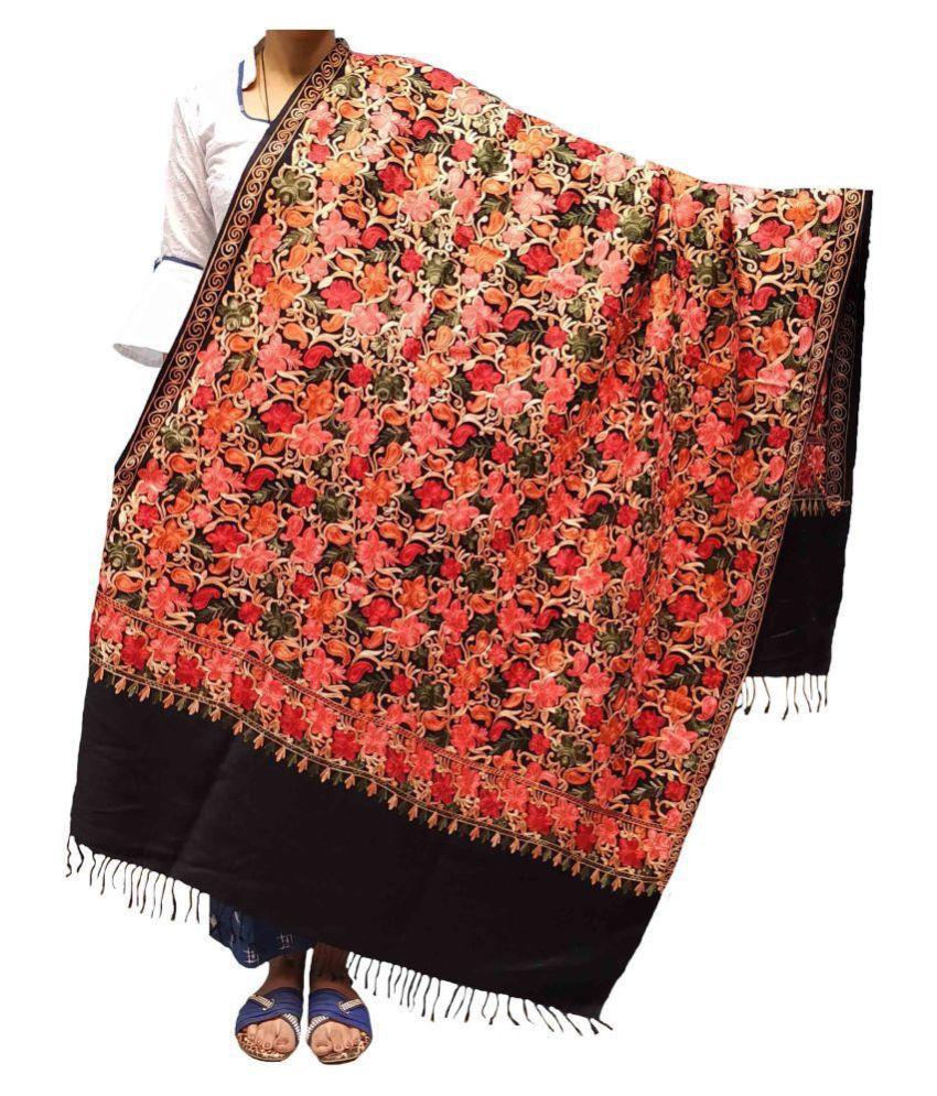 KASHMIRI Black Ari Embroidery Shawl