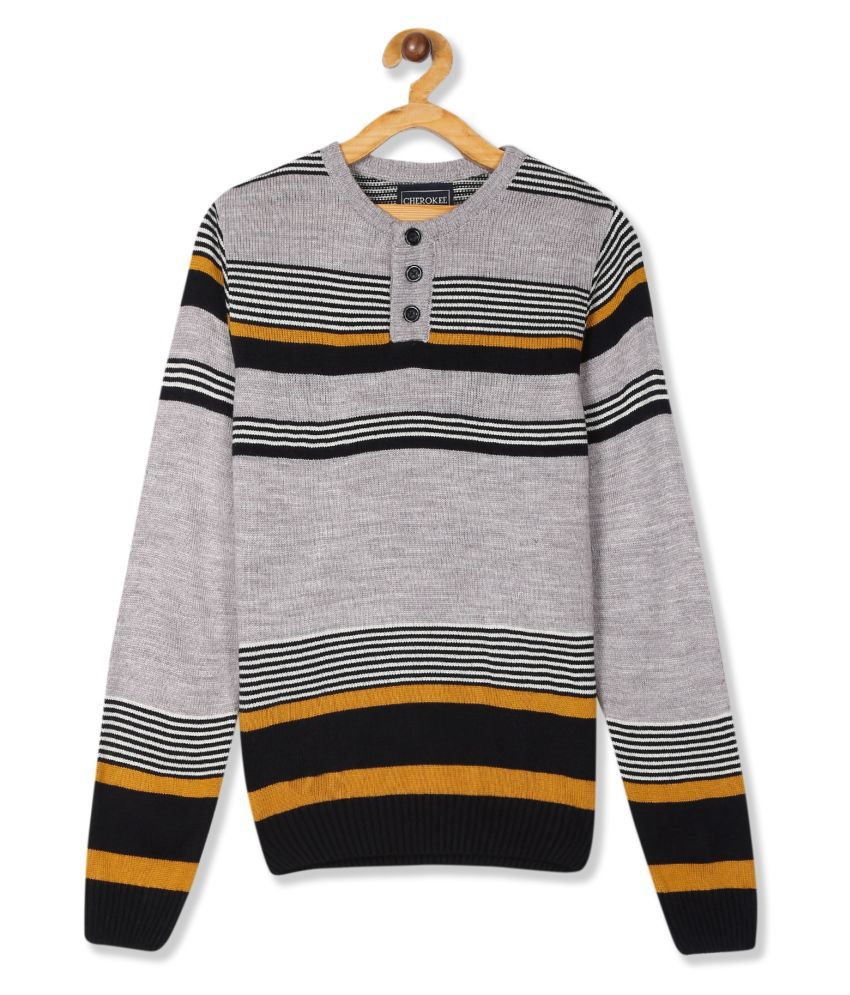 Purple And Navy Boys Striped Henley Neck Sweater