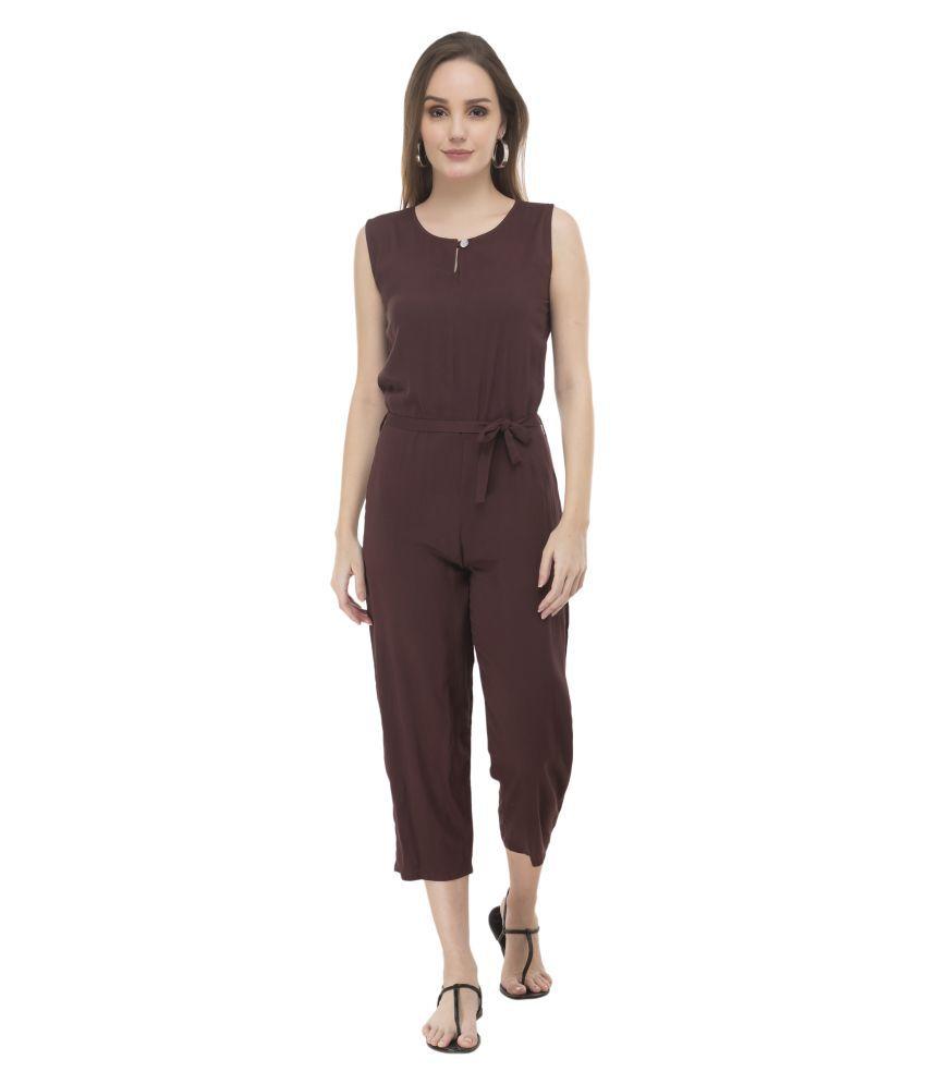Cora Dora Brown Rayon Jumpsuit
