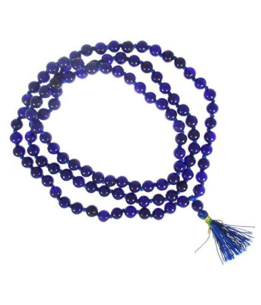 ShivaRatna Blue Hakik (Agate) Mala - (7mm Beads Diameter / 108+1 Beads / 35 cm Length)