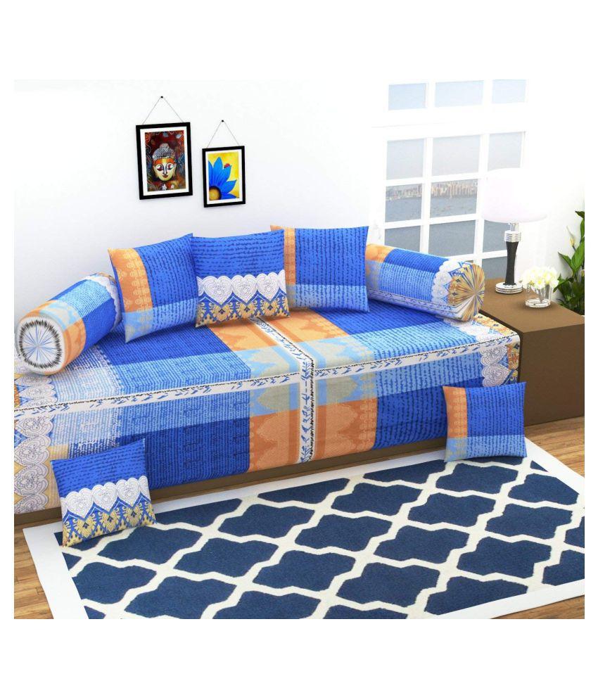 Homefab India Cotton Blue Abstract Diwan Set 8 Pcs