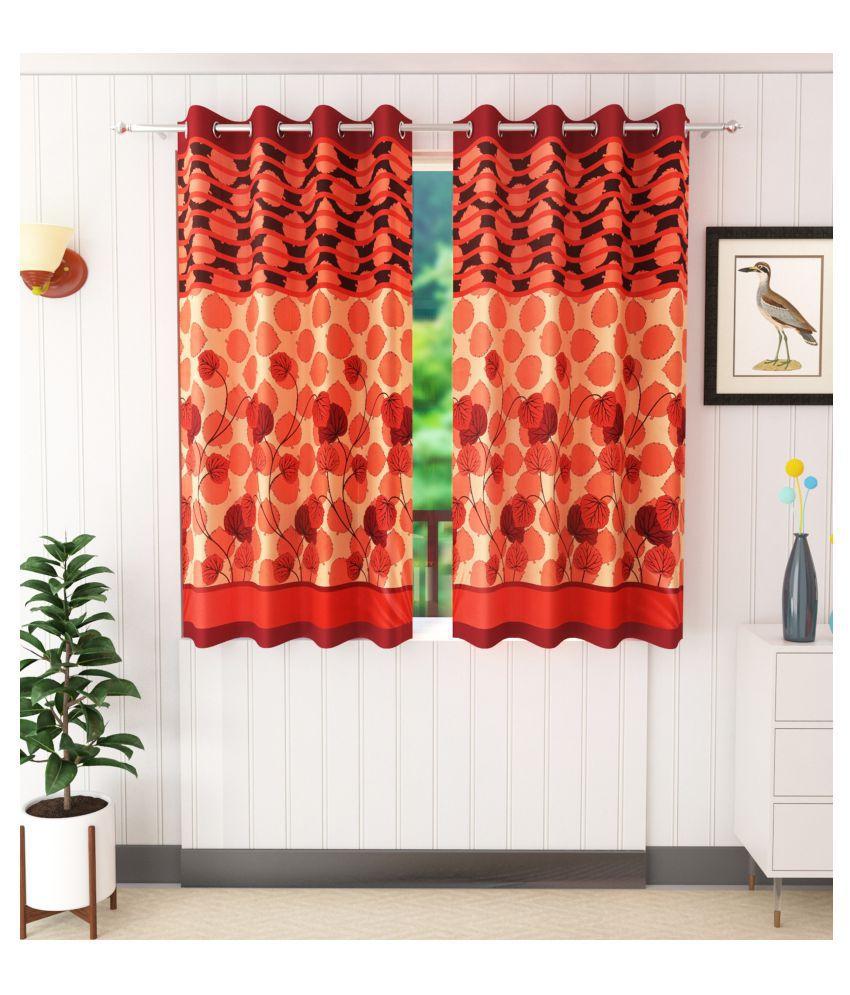 Homefab India Set of 2 Window Semi-Transparent Eyelet Polyester Curtains Maroon