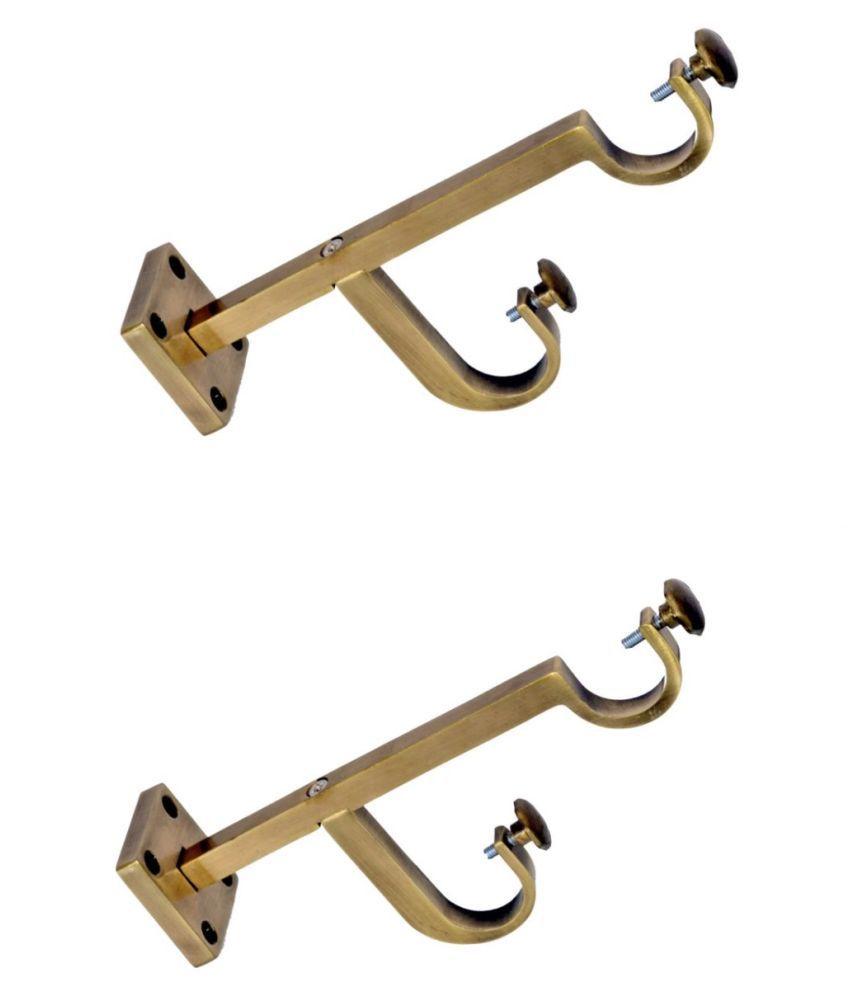 CasaGold Set of 2 Brass Double Rod Bracket