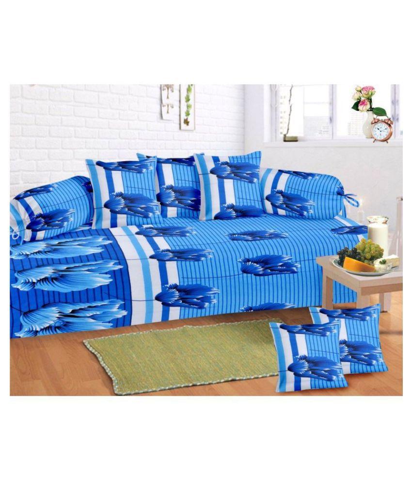 HFI Cotton Blue Floral Diwan Set 8 Pcs