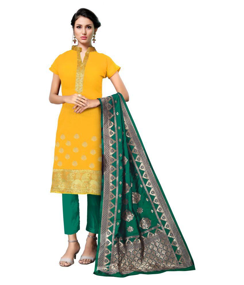 Maroosh Yellow Banarasi Silk Straight Semi-Stitched Suit