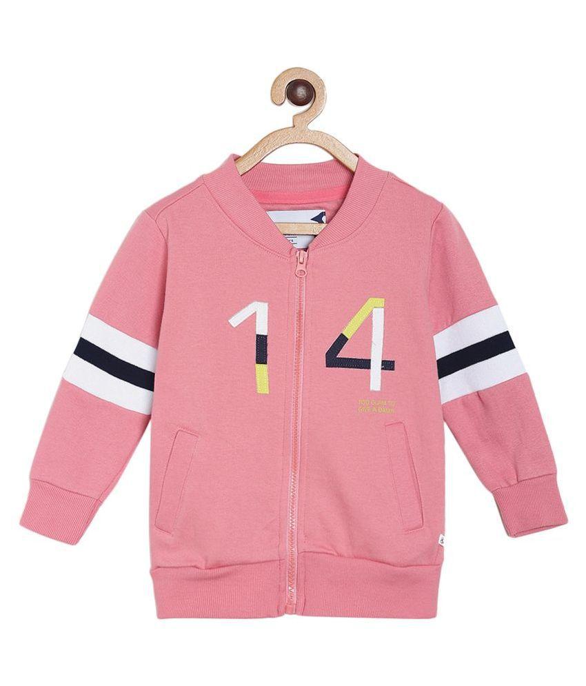 Tales & Stories Boys Light Pink Printed Cotton Round Neck Sweatshirt