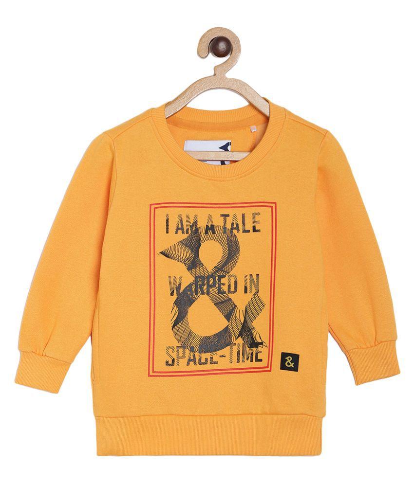 Tales & Stories Boys Mustard Yellow Printed Cotton Round Neck Sweatshirt