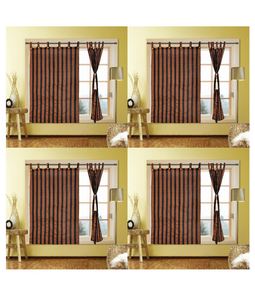 Kalaa Set of 8 Window Semi-Transparent Eyelet Cotton Curtains Brown