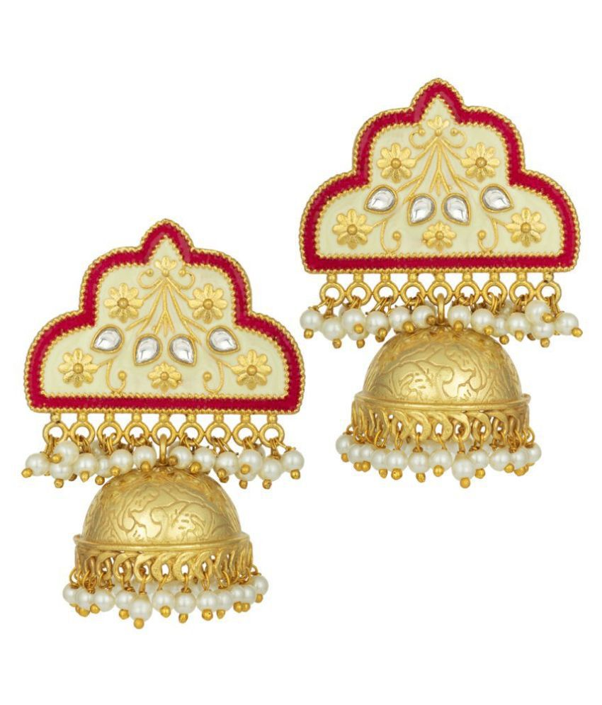 Peora Traditional Decorative Red Meena Work 18K Gold Plated Gold Plated Design Dangler Earrings for Women Girls