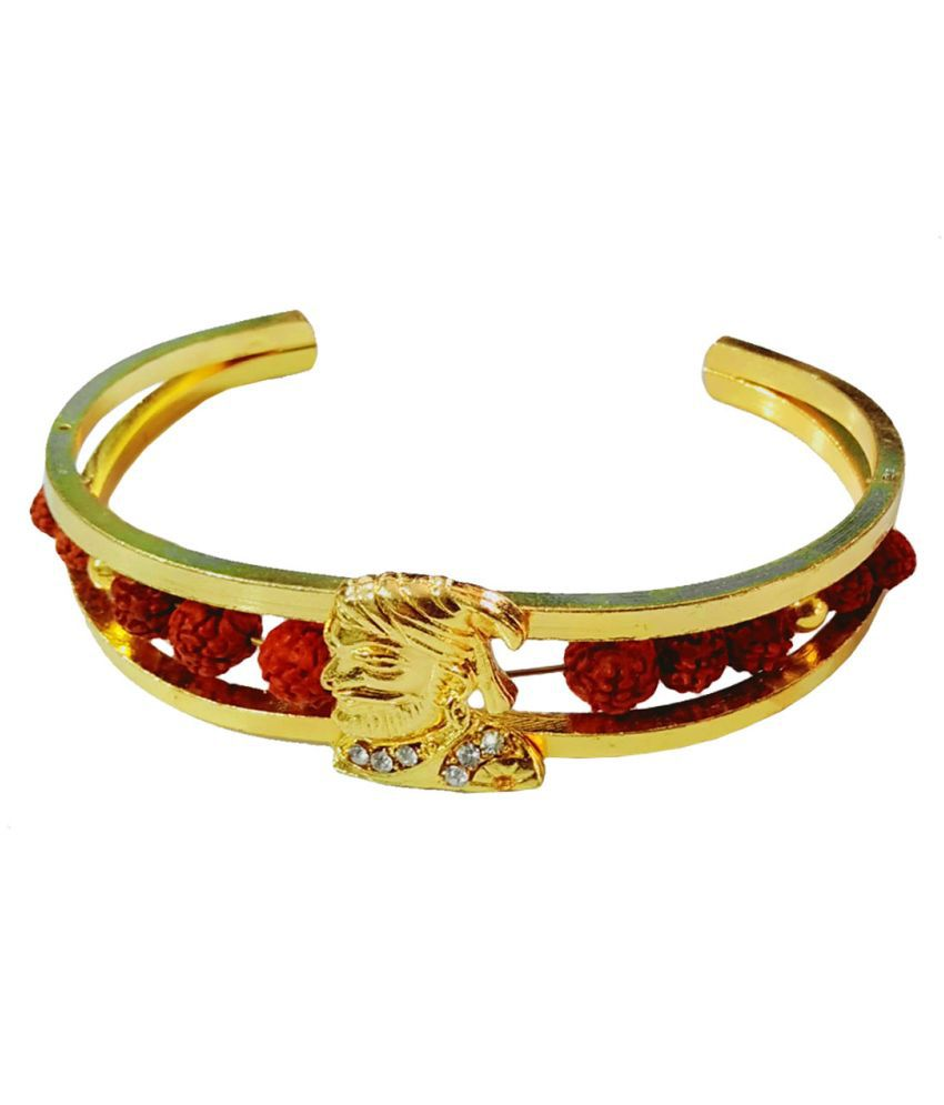 Men Style Special Shivaji Maharaj Elegant Premium Rudraksha Gold Brown Wood Brass Cuff