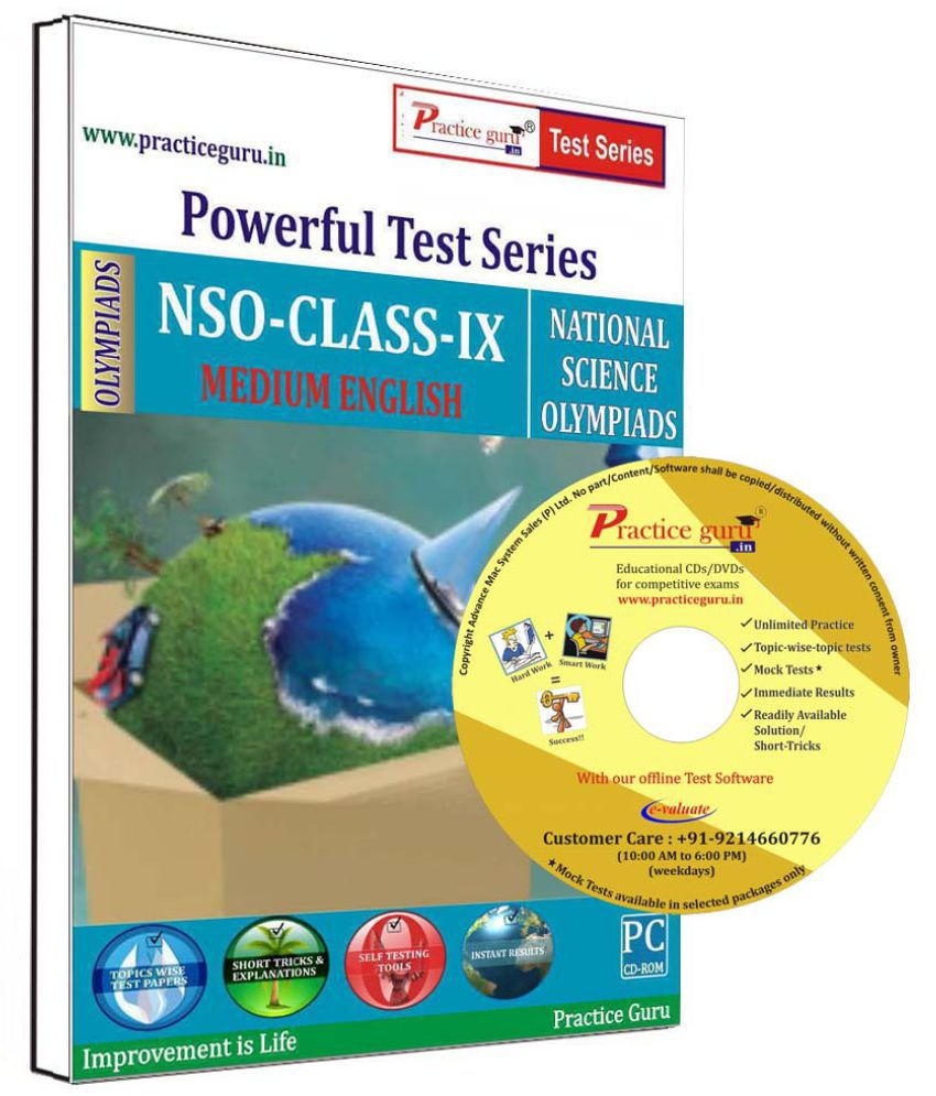 Practice Guru 15 Test 2 Mock Test,10 Previous Year Paper  for 9 Class NSO Exam  CD