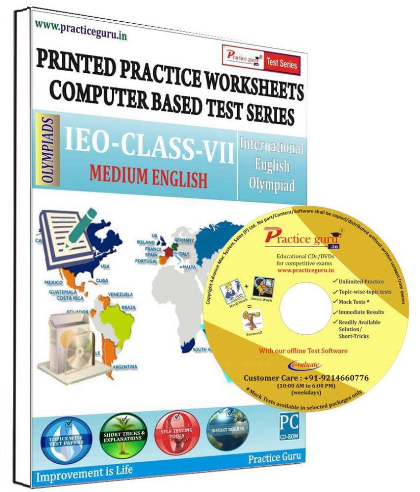 Practice Guru 23 Test 2 Mock Test,10 Previous Year Paper,20 Worksheet (Printed) for 7 Class IEO Exam  CD