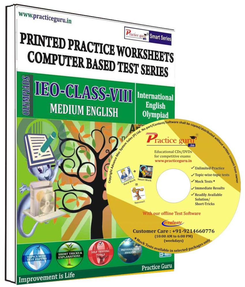 Practice Guru 54 Test 5 Mock Test,10 Previous Year Paper,10 Worksheet (Printed) for 8 Class IEO Exam  CD