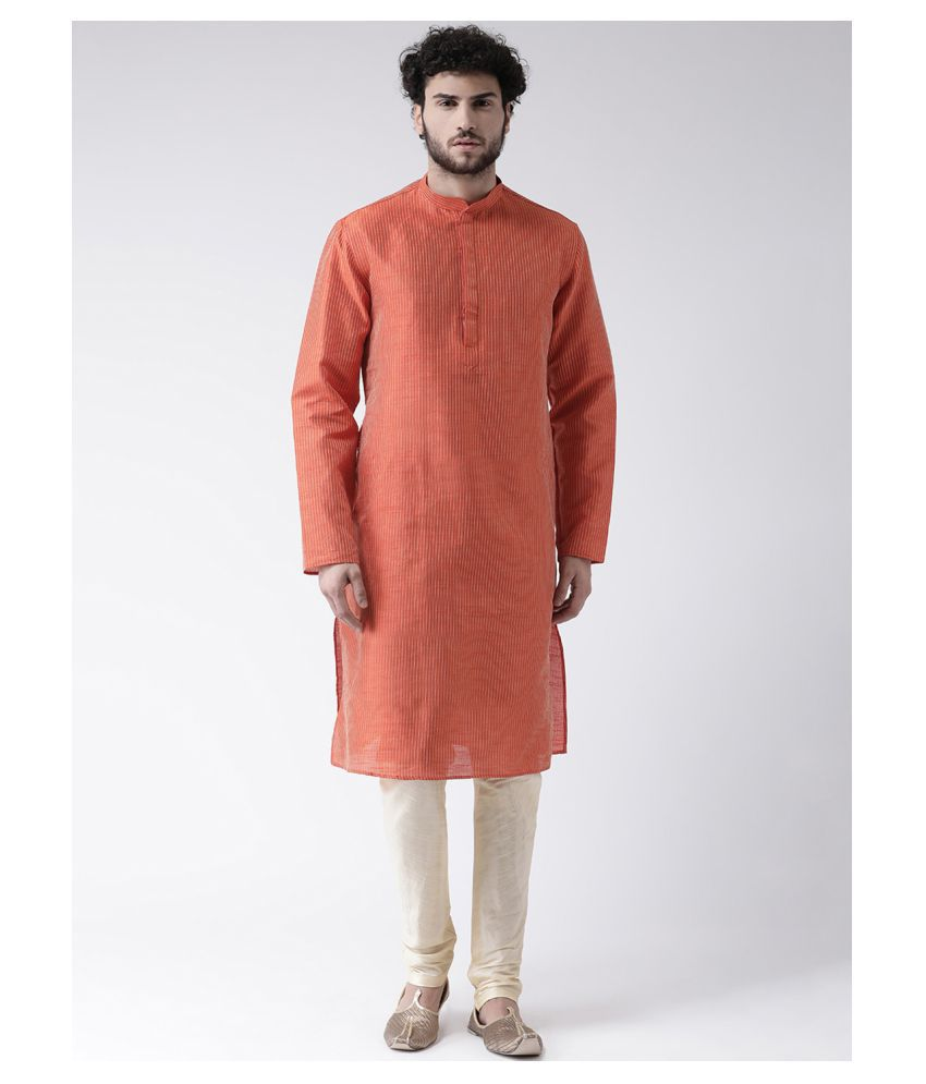 Tabard Red Silk Kurta Pyjama Set