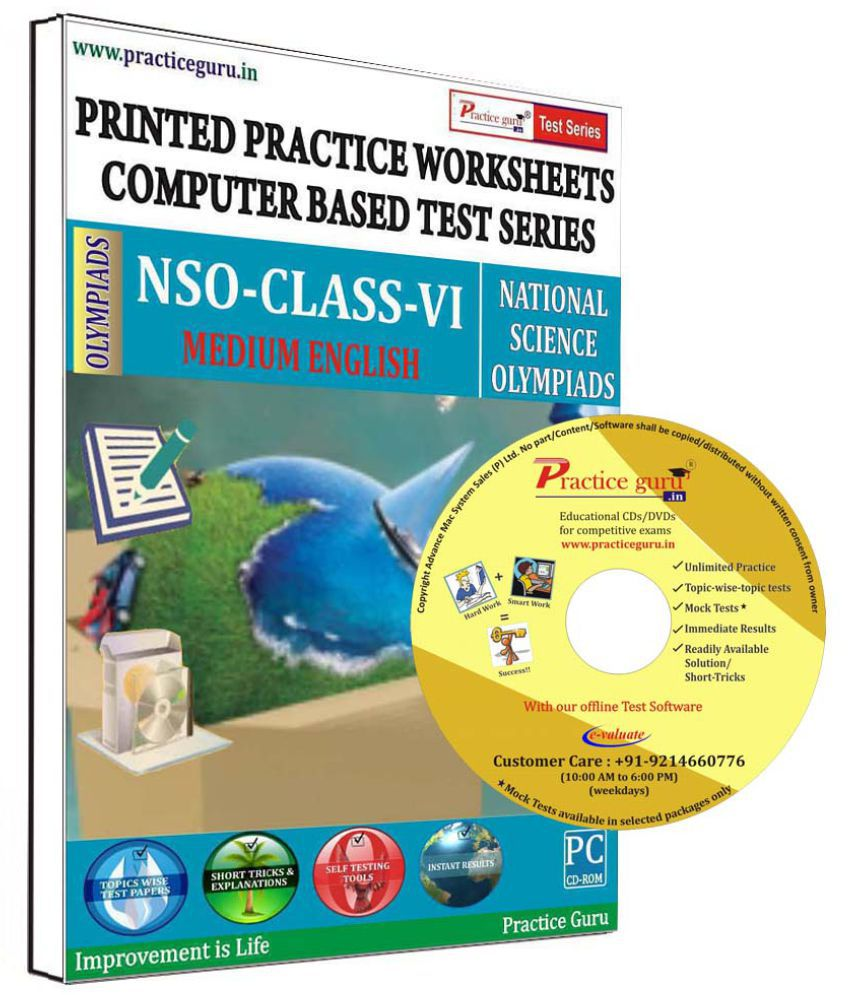 Practice Guru 11 Test 2 Mock Test,10 Previous Year Paper,30 Worksheet (Printed) for 6 Class NSO Exam  CD