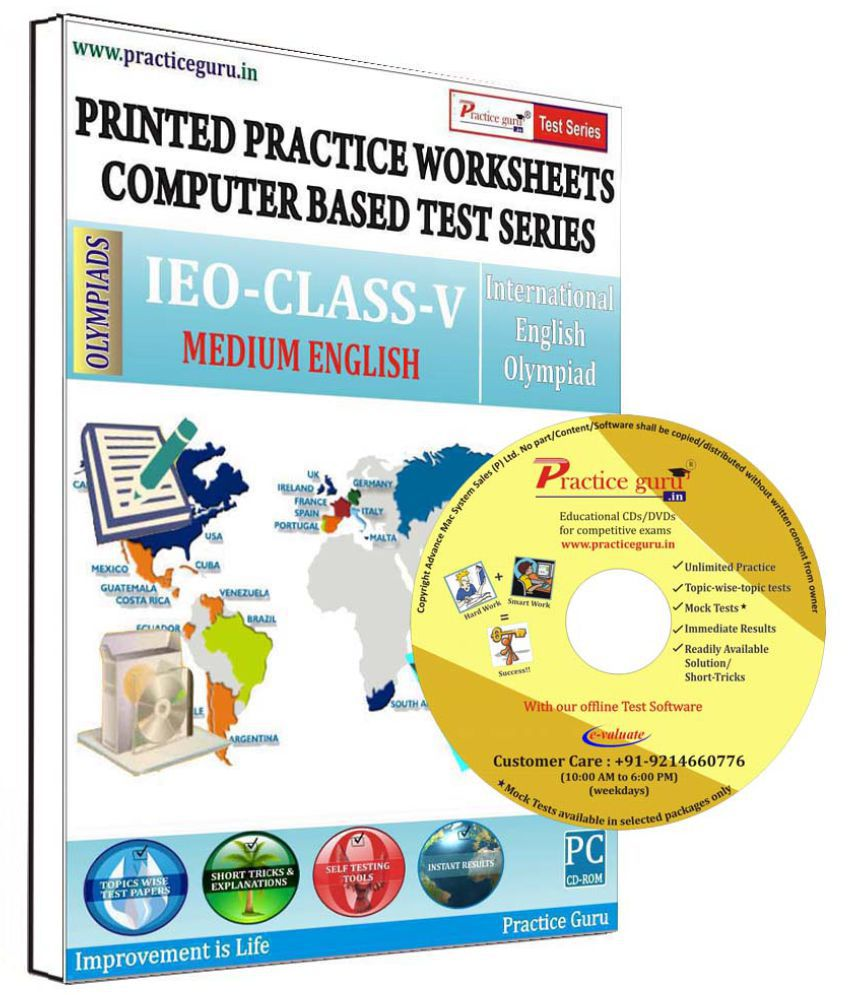 Practice Guru 20 Test 2 Mock Test,10 Previous Year Paper,20 Worksheet (Printed) for 5 Class IEO Exam  CD