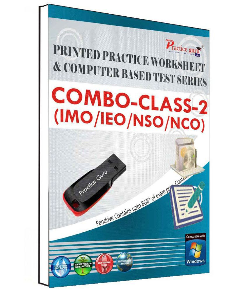 Practice Guru 280 Test 40 Mock Test,10 Previous Year Paper,100 Worksheet (Printed) for 2 Class (IMO,IEO,NSO,NCO) Pen Drive