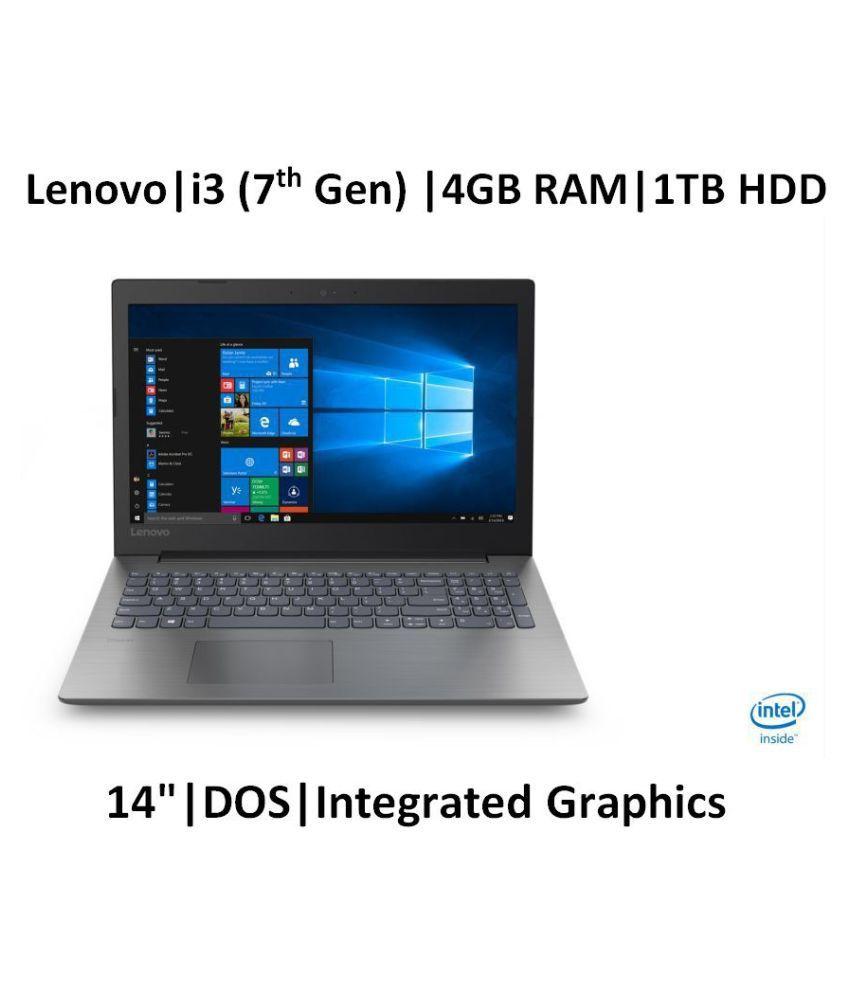 Lenovo Ideapad 81G200CAIN Notebook Core i3 (7th Generation) 4 GB 35.56cm(14) DOS Integrated Graphics Black