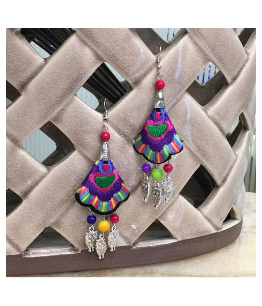Digital Ethnic Silver Plated Oxidised Metal Alloy Hook Earrings Traditional lightweight Multicolored Embroidered Floral & Owl beads Dangler Earrings Stylish Fancy Party Wear Jewellery For Women & Girl