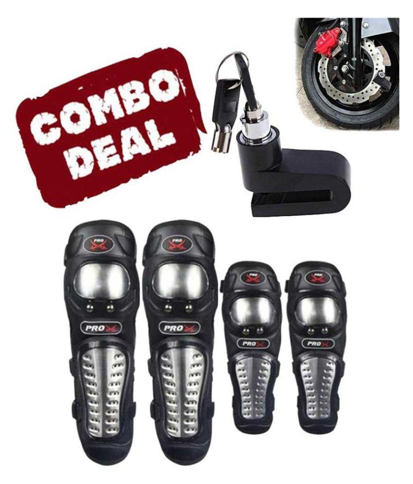 Biker Protective Gear Combo of Pro X Elbow Knee Guard & Disc Brake Lock