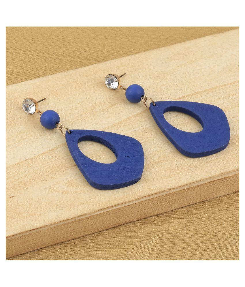 SILVER SHINE Elegant Dangler Diamond Wooden Earrings For Girls and Women