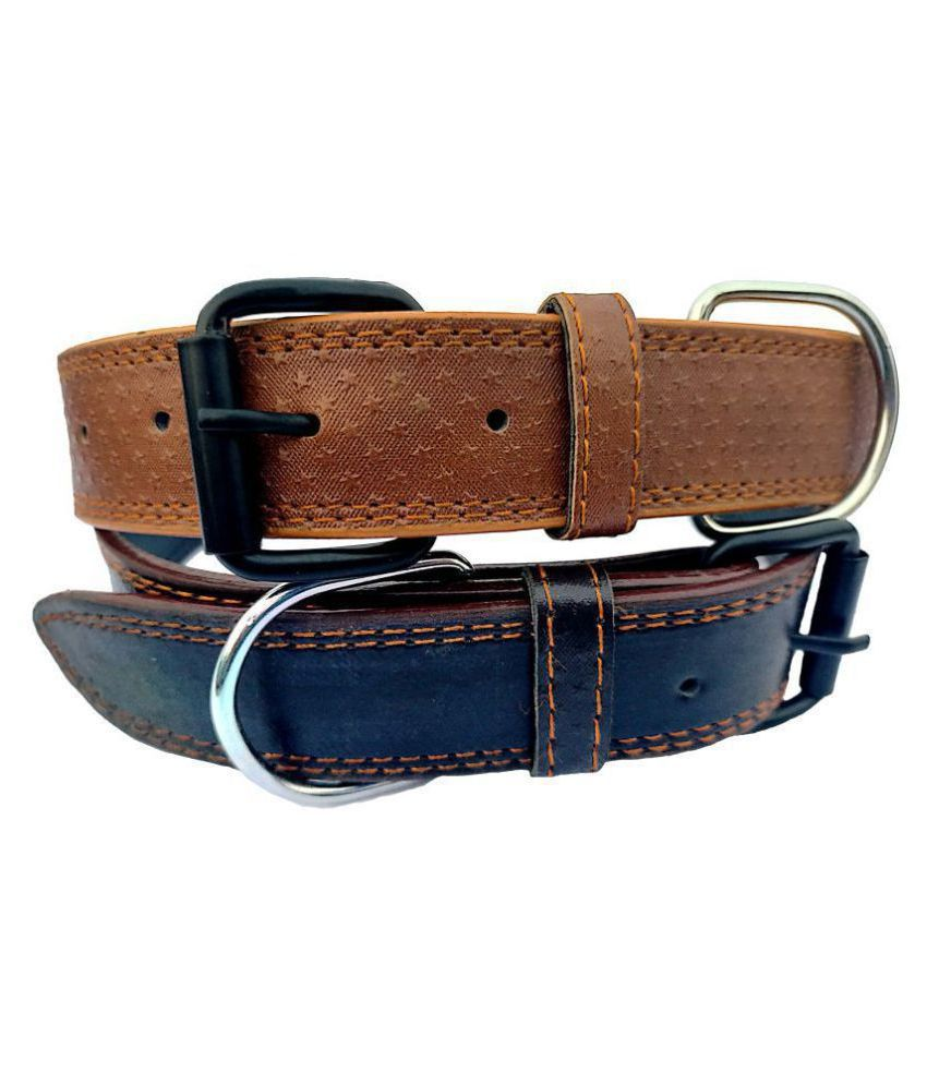 Forever99 Pet Shop Leather Dog Collar Neck Belt for Small Medium Large Dogs combo pack of 2