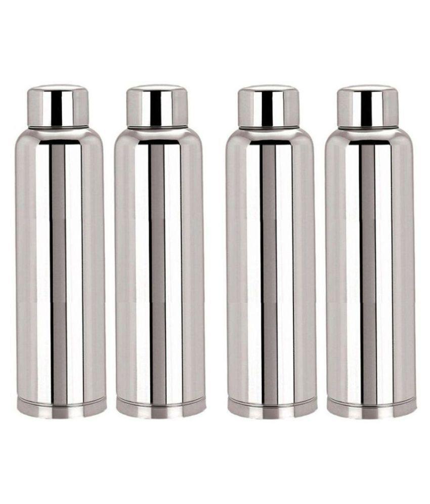KC Silver 1000 mL Steel Water Bottle set of 4