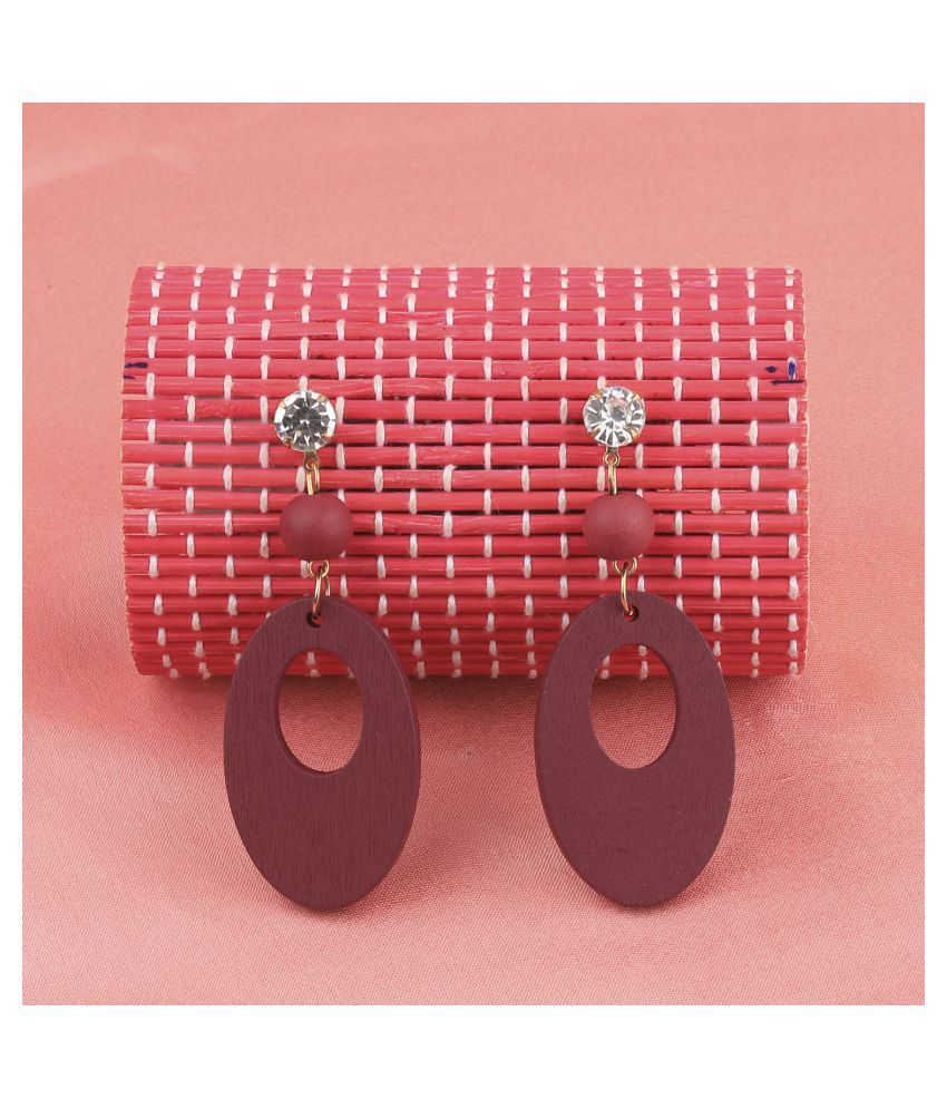 SILVER SHINE Antique   Wooden Dangler Earrings Perfect and Different Look for women girl.