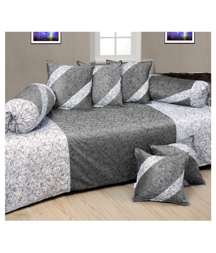 KS21 Homes Velvet Gray Ethnic Diwan Set 8 Pcs